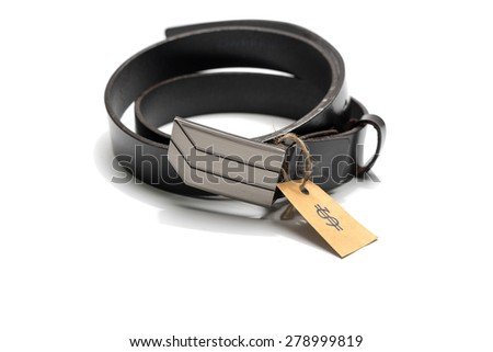 belt with price tag isolated on white background - stock photo