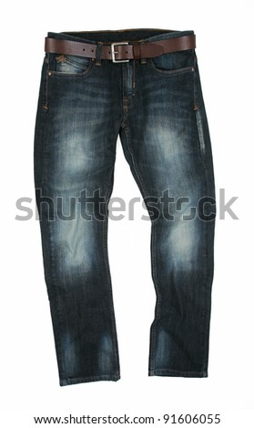 Belted Modern Stone Washed Denim Stylized Jeans - stock photo