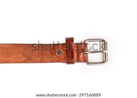 Belts with buckle isolated on a white background - stock photo
