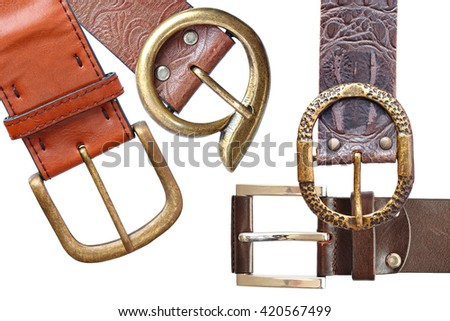 Belts with buckle unit isolated on a white background  - stock photo