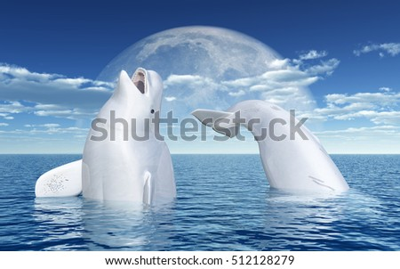 Beluga whales in front of the moon Computer generated 3D illustration