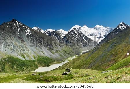 Belukha- the highest peak of Siberia - stock photo