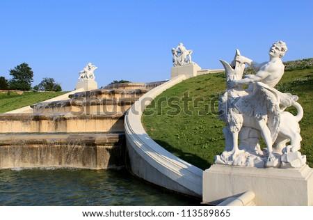 Belvedere Palace fountain, Vienna, Austria. - stock photo