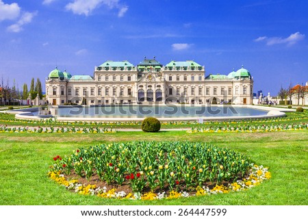Belvedere palace ,Vienna Austria ,with beautiful floral garden - stock photo