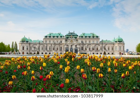Belvedere palace Vienna Austria with spring flowers - stock photo