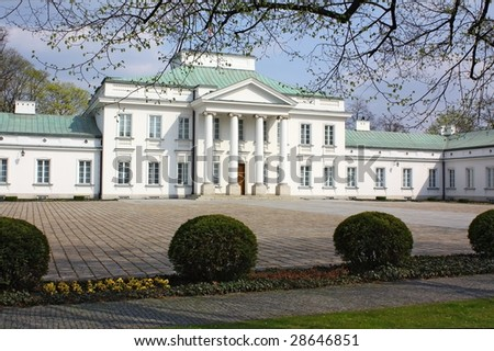 Belweder Palace in Warsaw, Poland. One of residence of polish President. - stock photo