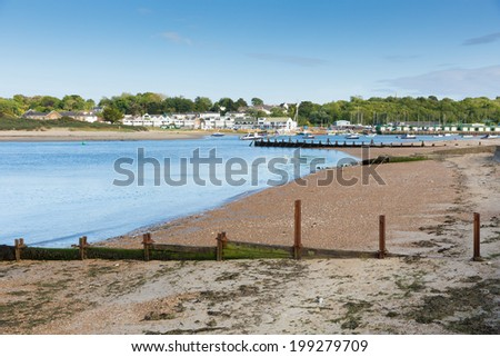 Bembridge beach Isle of Wight in the English Channel off the Hampshire coast  - stock photo