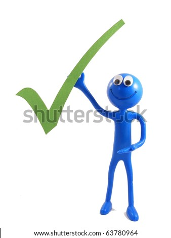 Ben d'Man - holding a green tick in the air - stock photo