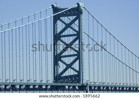 Ben Franklin Bridge, Philadelphia, PA - stock photo