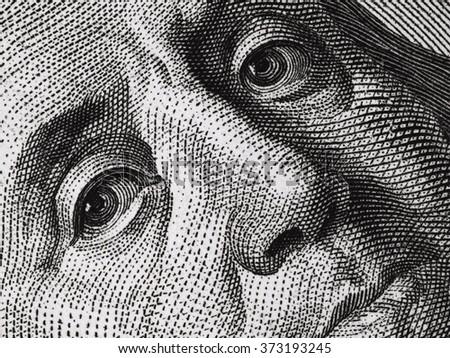 Ben Franklin face on us 100 dollar bill close up macro, united states money closeup - stock photo