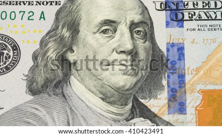 Ben Franklin face on us 100 dollar bill extreme macro, united states money closeup
