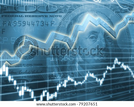 Ben Franklin with Stock Market Graph - stock photo