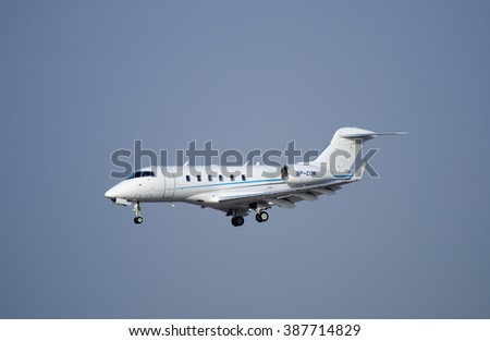 BEN-GURION AIRPORT, ISRAEL - DECEMBER 25, 2012: The Bombardier Challenger 300  airplane arriving to Ben-Gurion Airport. Israel
