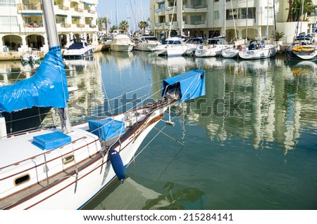 BENALMADENA, SPAIN - MAY 25: A view of Puerto Marina on May 25, 2014 in Benalmadena, Malaga, Spain. This marina has berths for 1100 boats. It was opened on 1987.