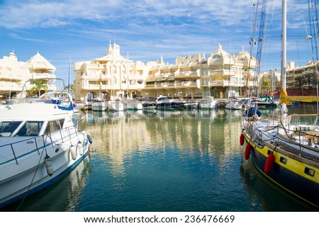BENALMADENA, SPAIN - MAY 25: A view of Puerto Marina on May 25, 2014 in Benalmadena, Malaga, Spain. This marina has berths for 1100 boats. It was opened on 1987.  - stock photo