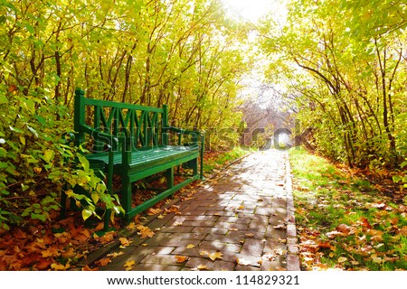 Bench among trees in autumn park - stock photo