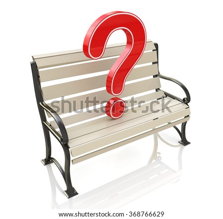 Bench and question at registration information related to unresolved issues - stock photo