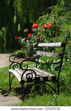 bench and roses in the park - stock photo