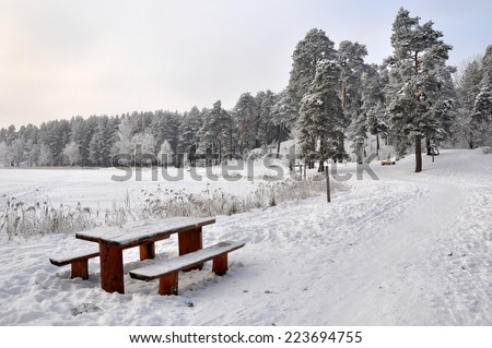 bench and table in the snow. Winter wonderland in snow covered forest. Latvia  - stock photo