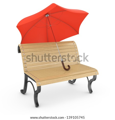 bench and umbrella isolated on white. 3d rendered image