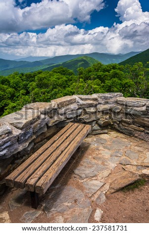 Bench and view of the Appalachians from Craggy Pinnacle, near the Blue Ridge Parkway, North Carolina. - stock photo