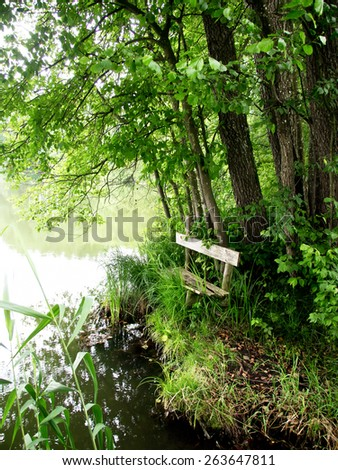 bench at a lake  - stock photo