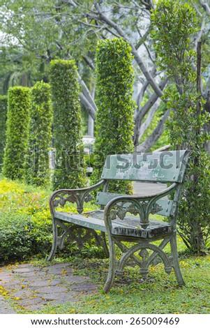 bench / chair in city public park , Bangkok, Thailand - stock photo
