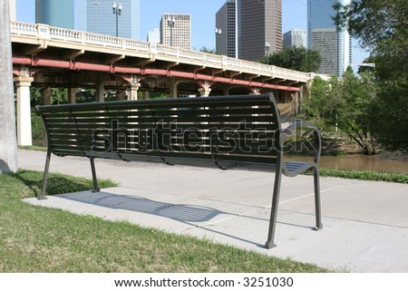 Bench chair with a view to the bayou, bridge, and downtown Houston