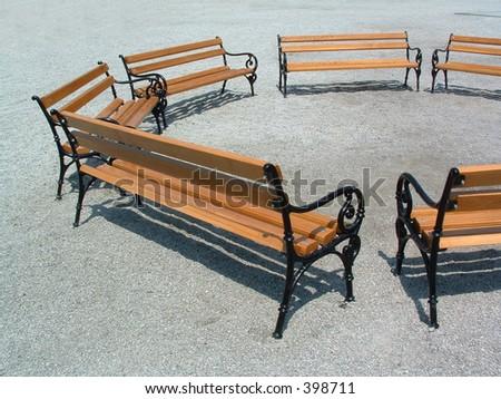 bench circle - stock photo