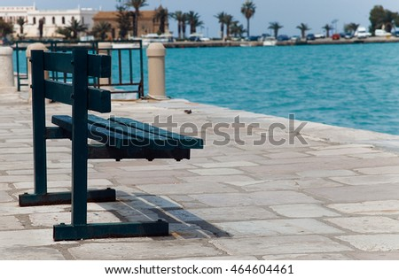 Bench deck with sea view, Zakinthos, Greece