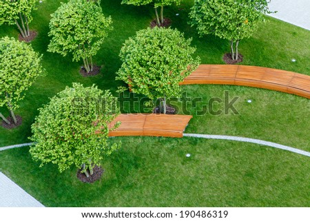 Bench in a park - stock photo