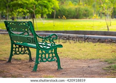 Bench in a park, Park Bench  - stock photo