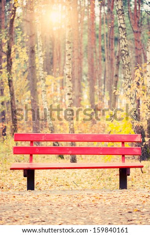 bench in autumn park with fallen leaves - stock photo