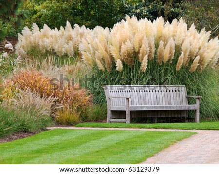 Bench in beautiful city park - stock photo