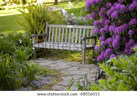 Bench in beautiful Inniswood Park in Westerville, Ohio - stock photo