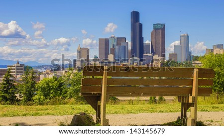 bench in front of the beautiful scenic ride seattle - stock photo