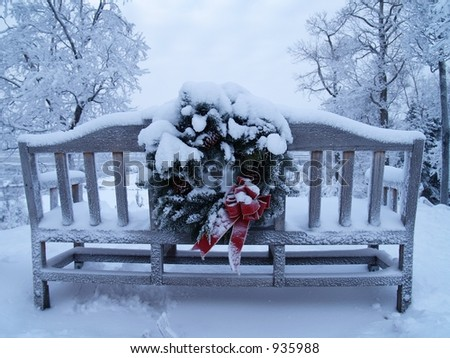 Bench in Kincaid, Anchorage, AK - stock photo