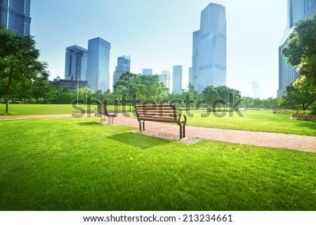 bench in park, Shanghai, China - stock photo