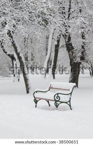 Bench in snow 8. - stock photo