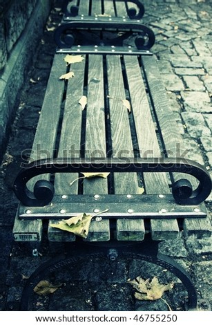 Bench in the Central Park - stock photo