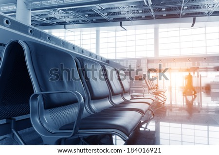bench in the hall of airport