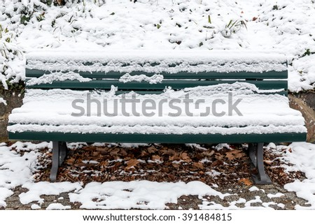 bench in the park with snow