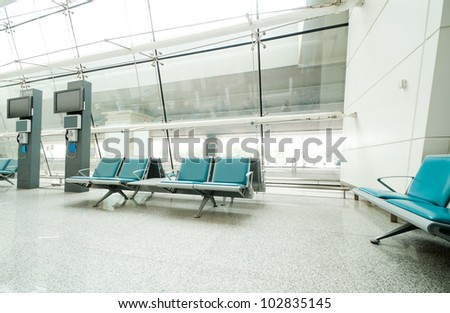 Bench in the shanghai pudong airport.interior of the airport. - stock photo