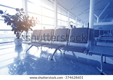 bench in the station, blue tone