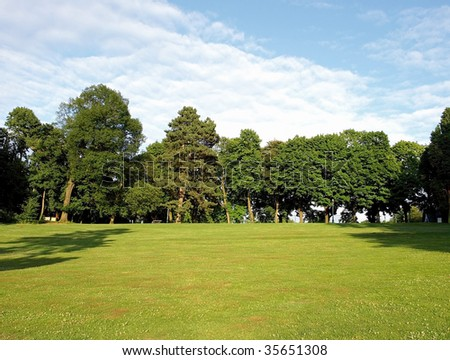 Bench in the Woluwe Park, Brussels, Belgium - stock photo