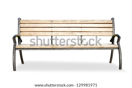 bench isolated over white background - stock photo
