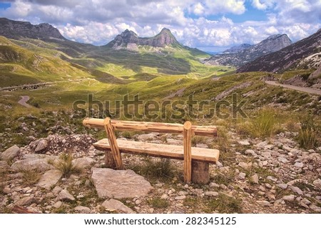 bench look out on mountain of Durmitor National Park, Montenegro - stock photo