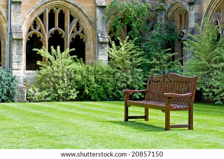 Bench, New College in Oxford - stock photo