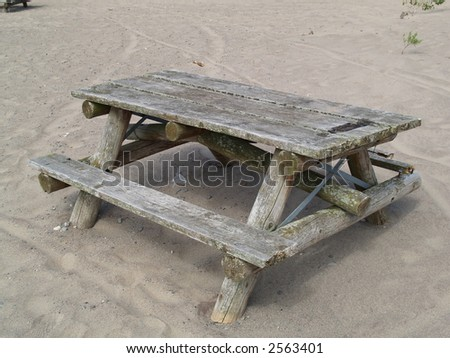 bench on a beach - stock photo