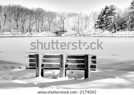 bench on christmas time - stock photo